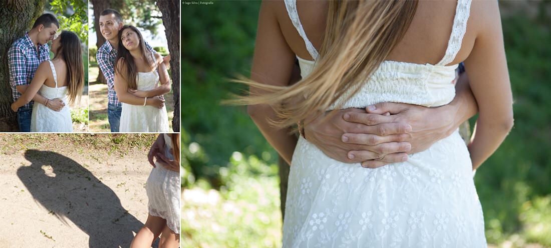 Silvafoto: preboda en vigo, novios besándose y detalle manos novios
