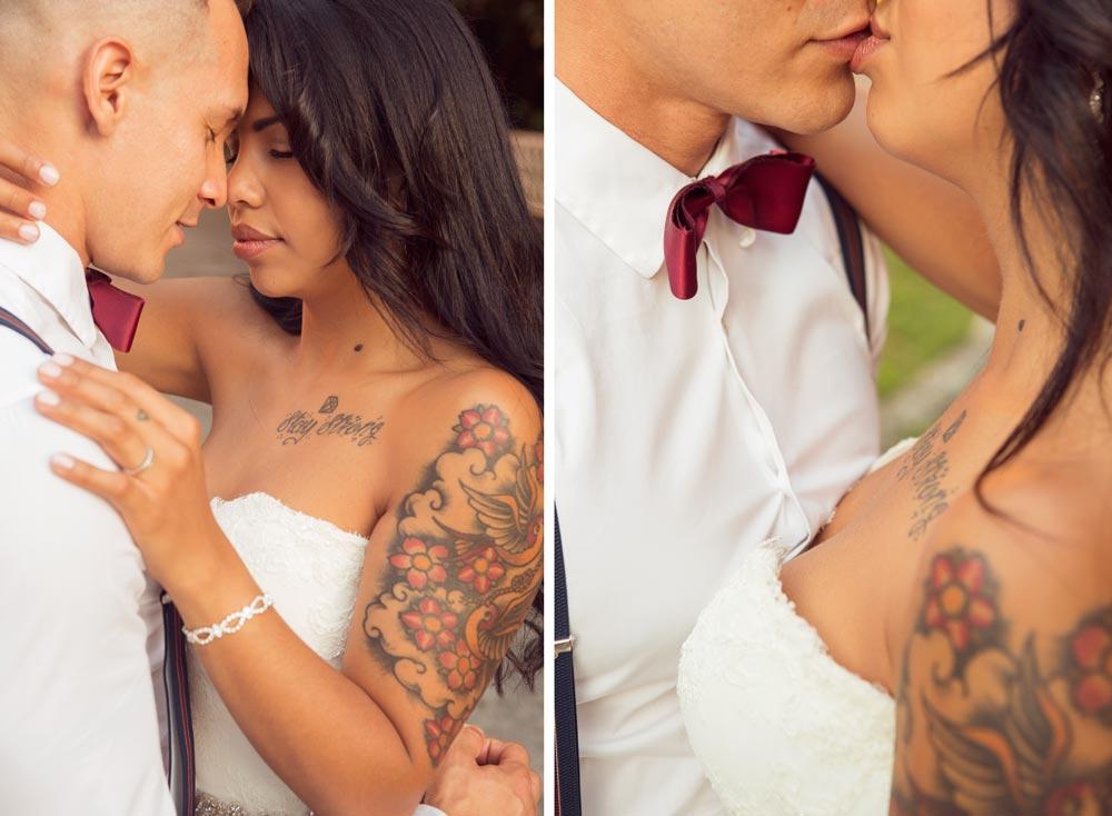 Retrato novios besándose, boda en vigo
