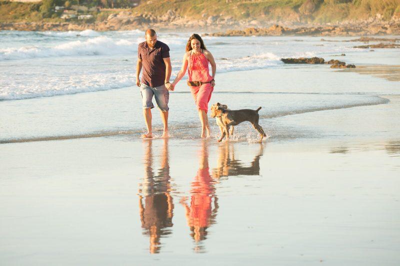 pareja paseando por playa con dos perros