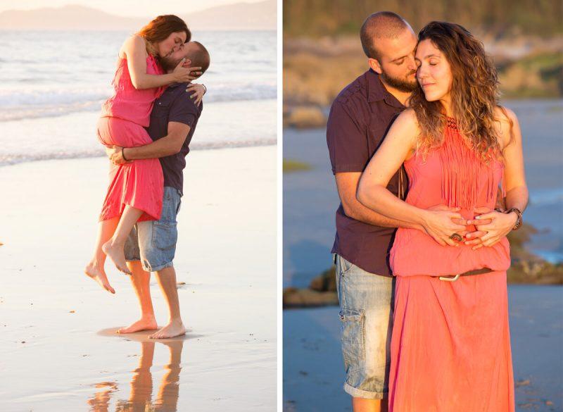 pareja en la playa besándose